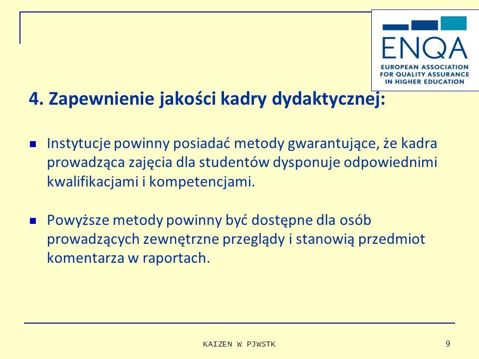 4. Zapewnienie jakości kadry dydaktycznej: