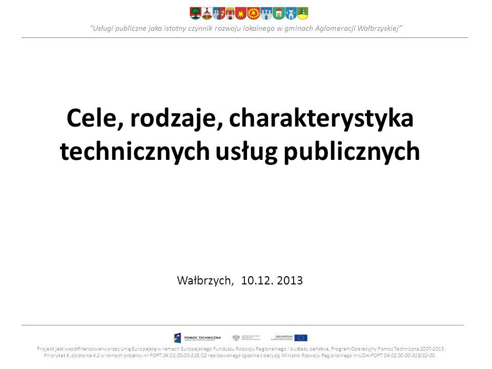Cele, rodzaje, charakterystyka technicznych usług publicznych