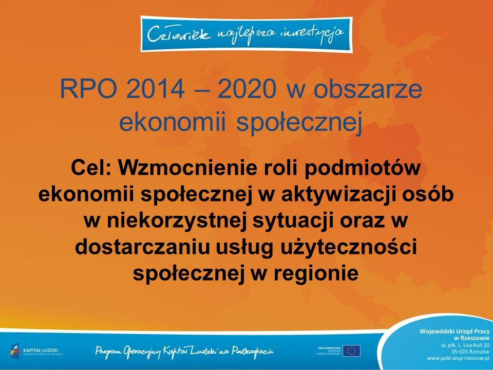 RPO 2014 – 2020 w obszarze ekonomii społecznej