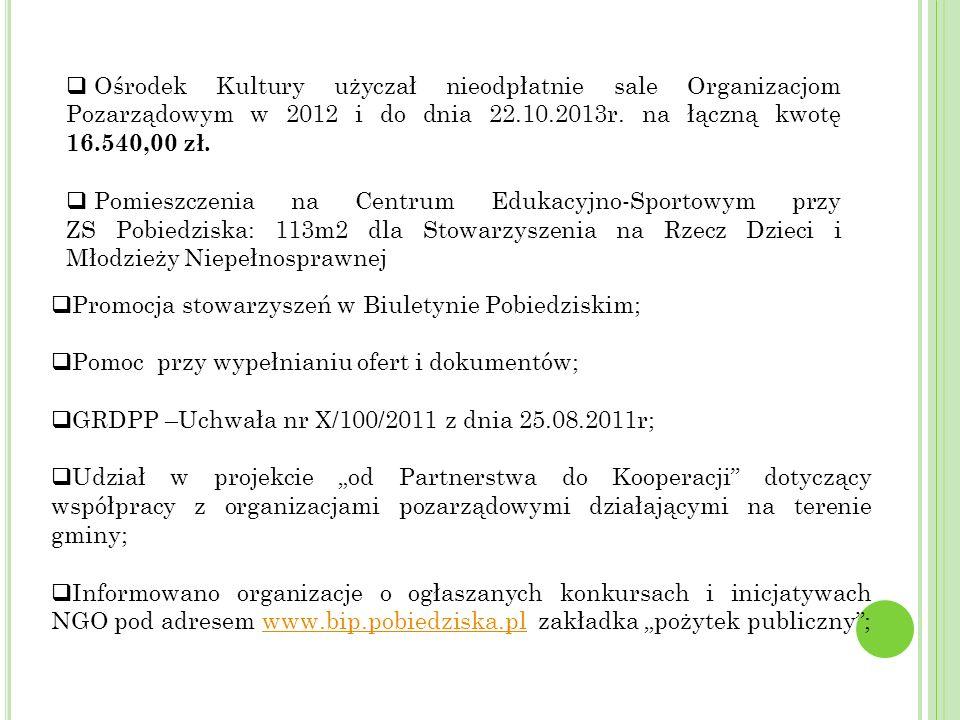 Ośrodek Kultury użyczał nieodpłatnie sale Organizacjom Pozarządowym w 2012 i do dnia 22.10.2013r. na łączną kwotę 16.540,00 zł.