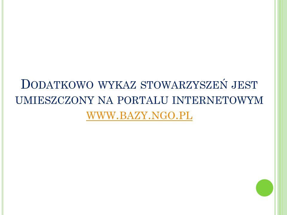 Dodatkowo wykaz stowarzyszeń jest umieszczony na portalu internetowym www.bazy.ngo.pl