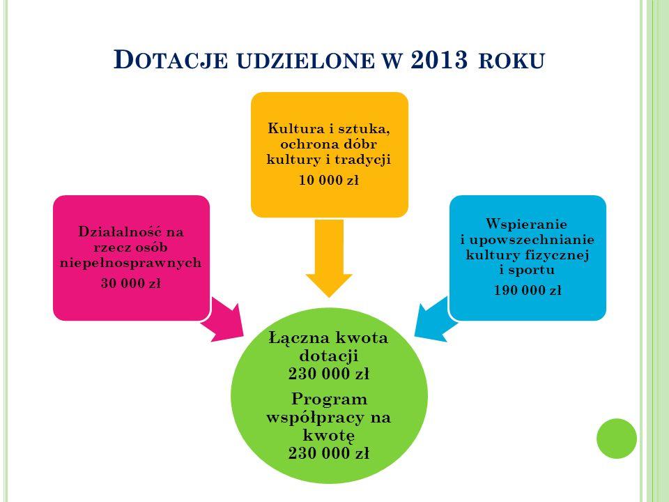 Dotacje udzielone w 2013 roku