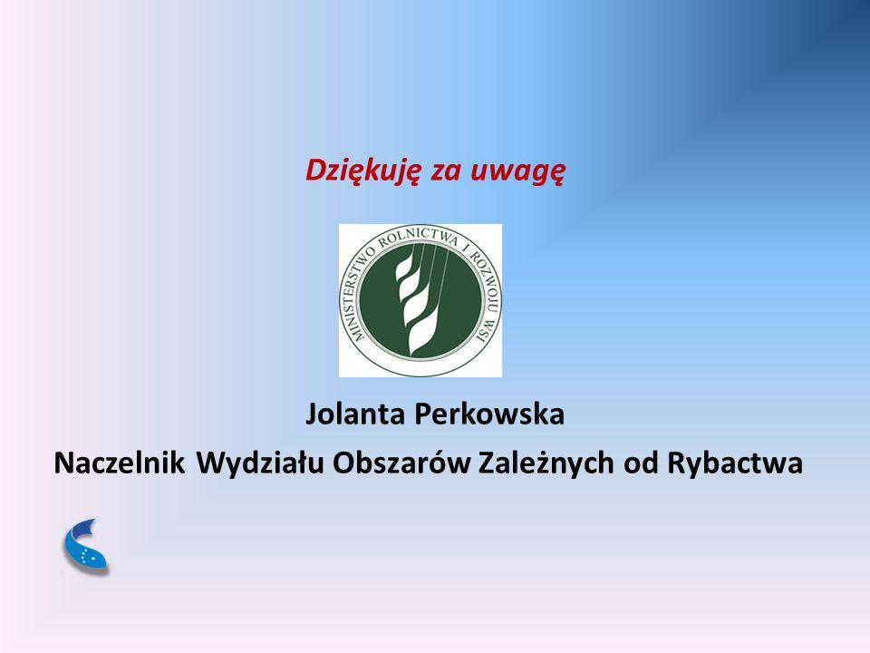 Dziękuję za uwagę Jolanta Perkowska Naczelnik Wydziału Obszarów Zależnych od Rybactwa