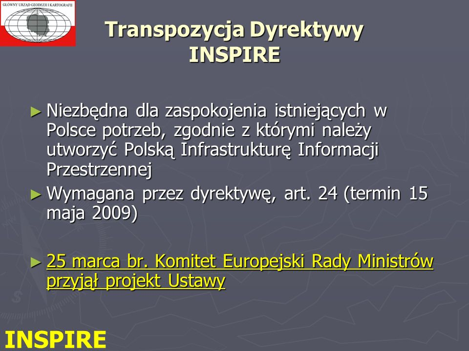 Transpozycja Dyrektywy INSPIRE