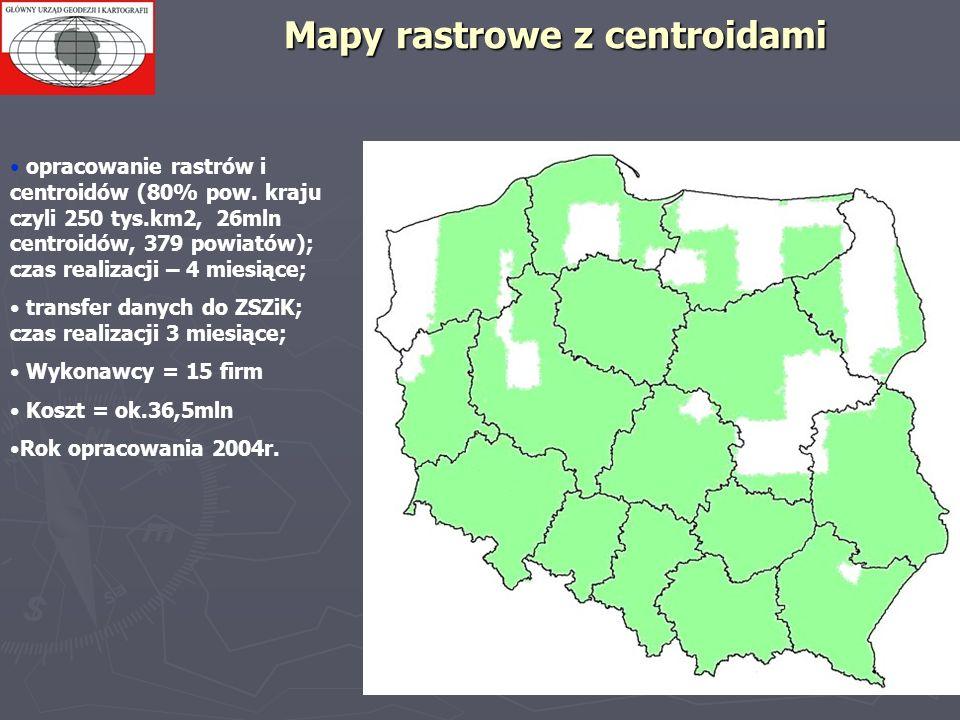 Mapy rastrowe z centroidami