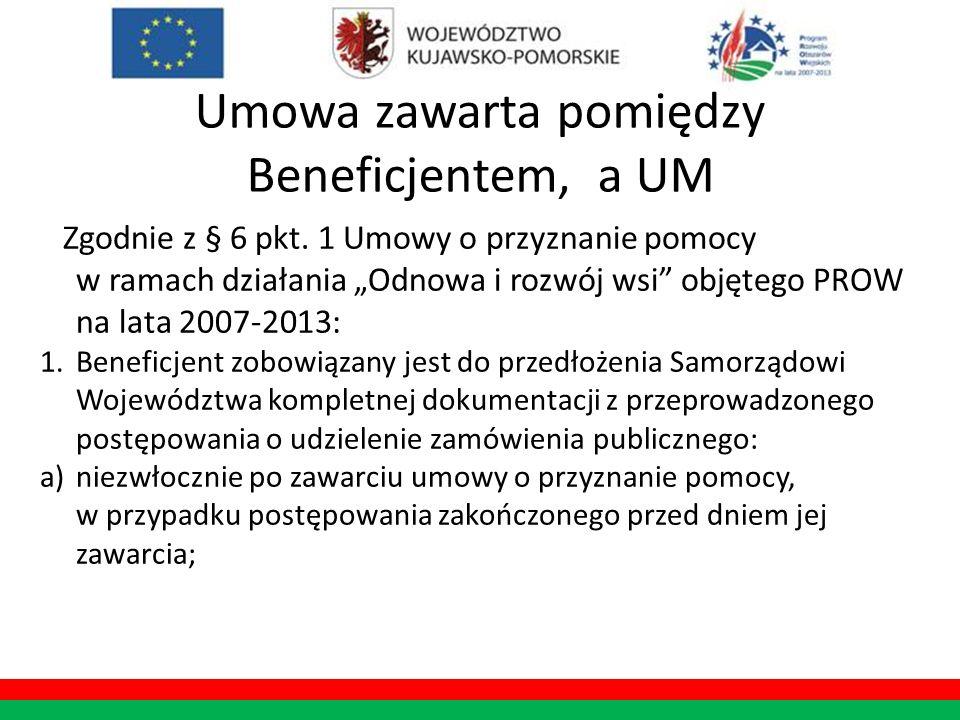 Umowa zawarta pomiędzy Beneficjentem, a UM