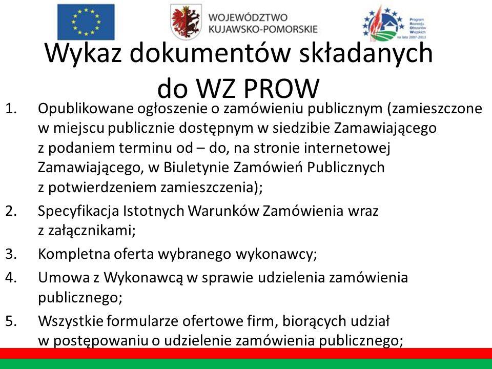Wykaz dokumentów składanych do WZ PROW