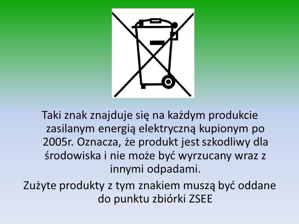 Taki znak znajduje się na każdym produkcie zasilanym energią elektryczną kupionym po 2005r.