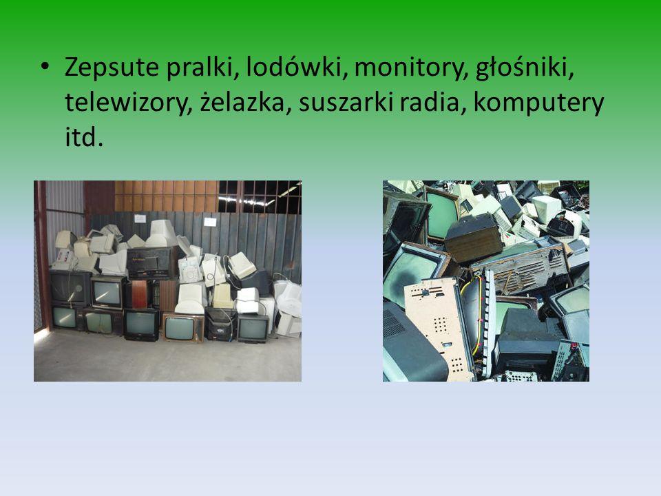 Zepsute pralki, lodówki, monitory, głośniki, telewizory, żelazka, suszarki radia, komputery itd.