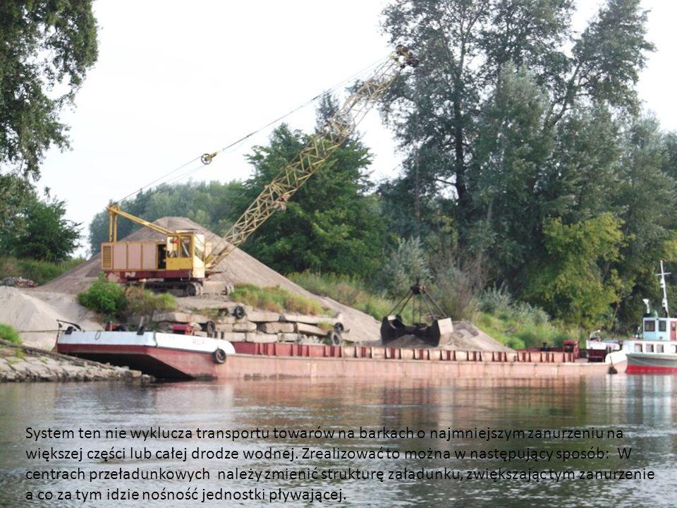 System ten nie wyklucza transportu towarów na barkach o najmniejszym zanurzeniu na większej części lub całej drodze wodnej. Zrealizować to można w następujący sposób: W centrach przeładunkowych należy zmienić strukturę załadunku, zwiększając tym zanurzenie
