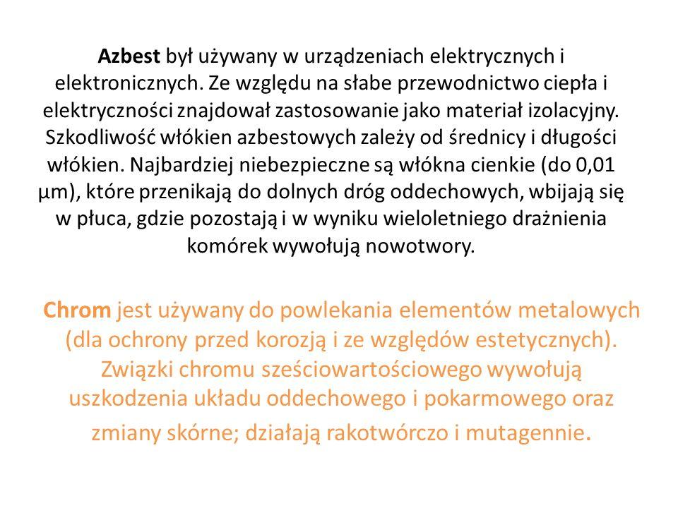 Azbest był używany w urządzeniach elektrycznych i elektronicznych