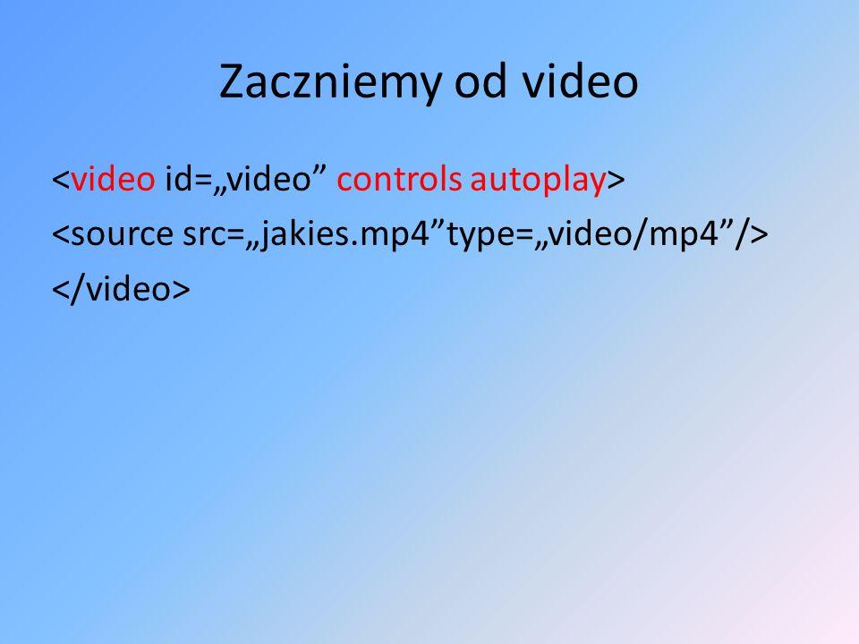 """Zaczniemy od video <video id=""""video controls autoplay> <source src=""""jakies.mp4 type=""""video/mp4 /> </video>"""