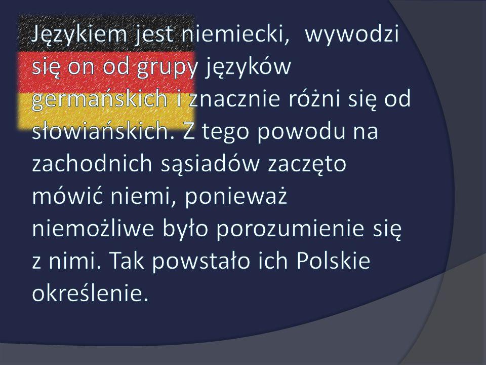 Językiem jest niemiecki, wywodzi się on od grupy języków germańskich i znacznie różni się od słowiańskich. Z tego powodu na zachodnich sąsiadów zaczęto mówić niemi, ponieważ niemożliwe było porozumienie się z nimi. Tak powstało ich Polskie określenie.