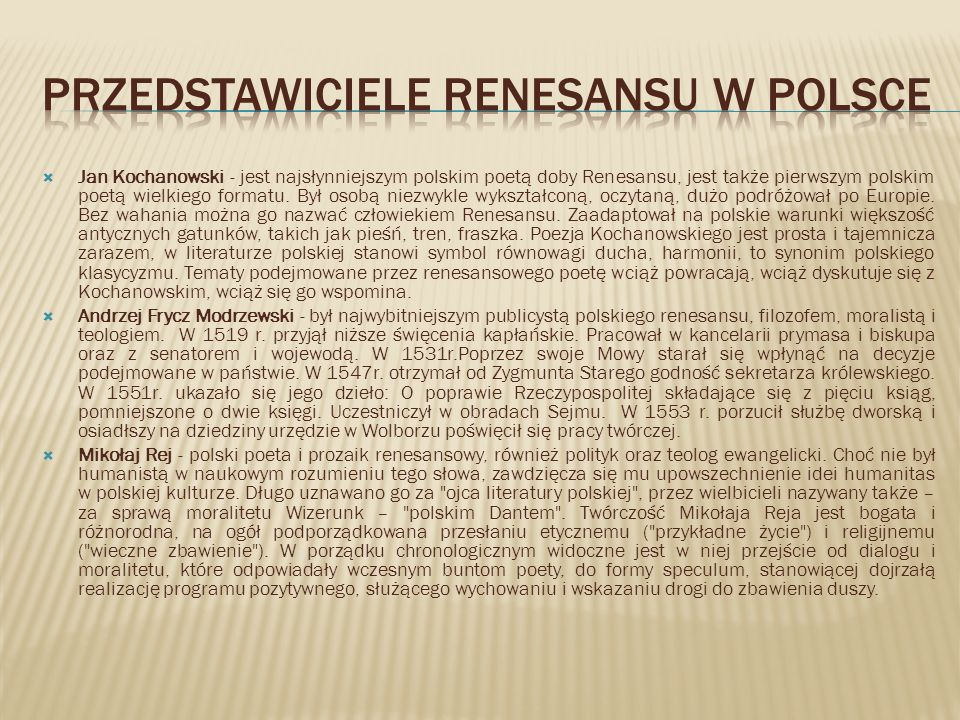 Przedstawiciele renesansu w polsce