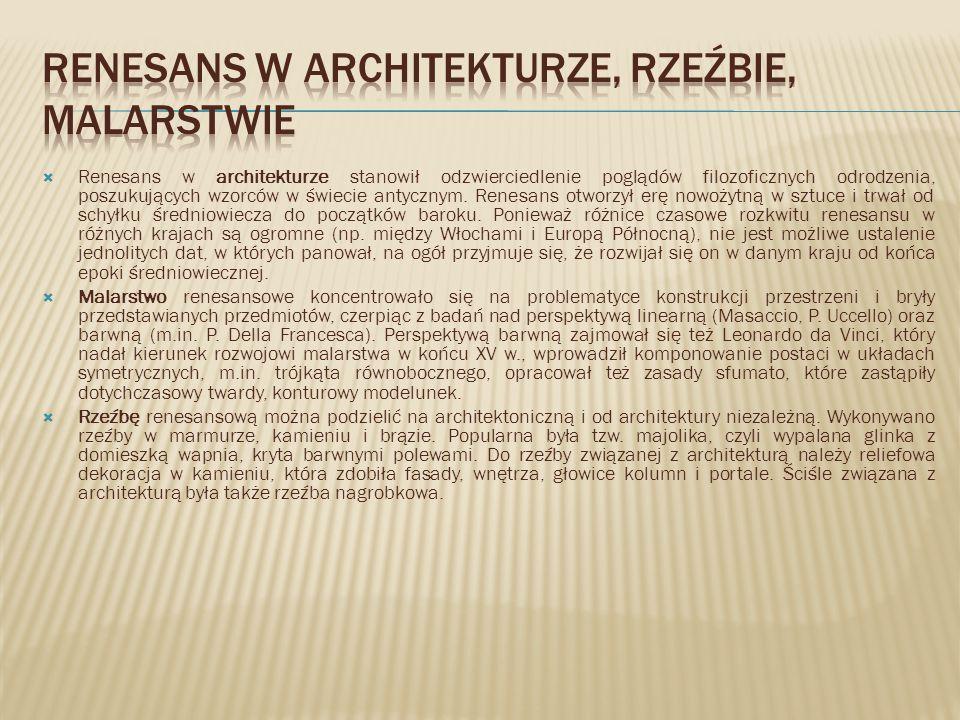 Renesans w architekturze, rzeźbie, malarstwie
