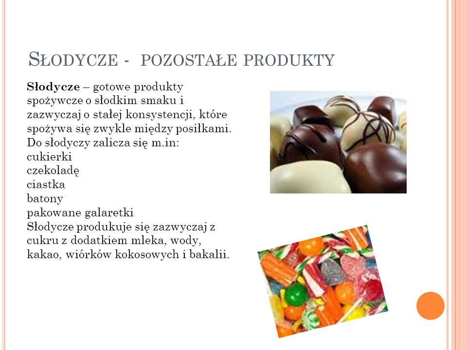 Słodycze - pozostałe produkty