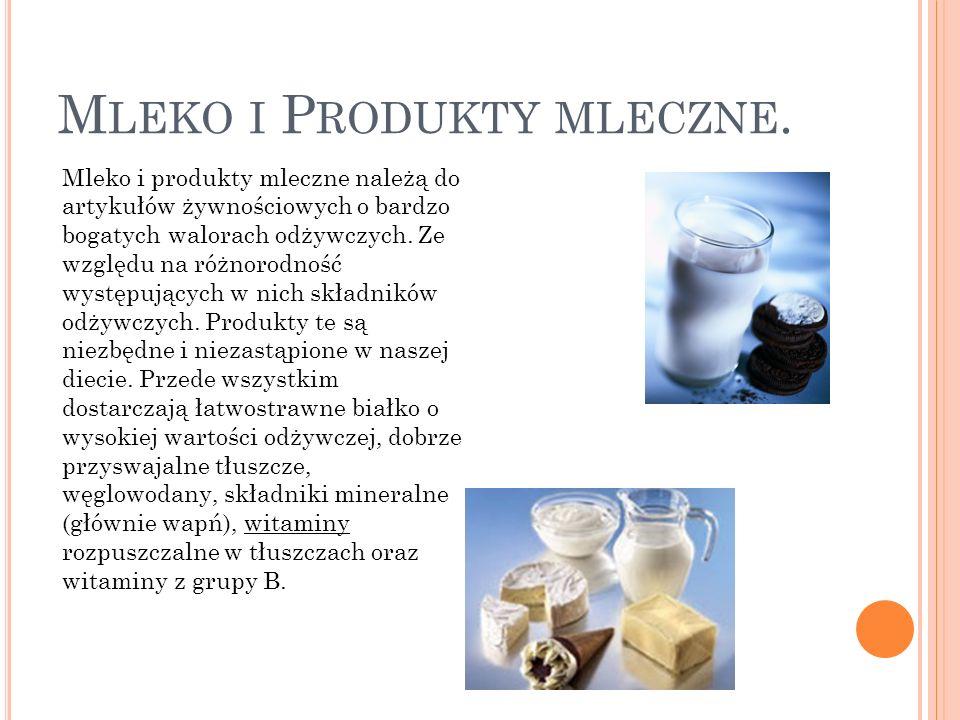 Mleko i Produkty mleczne.