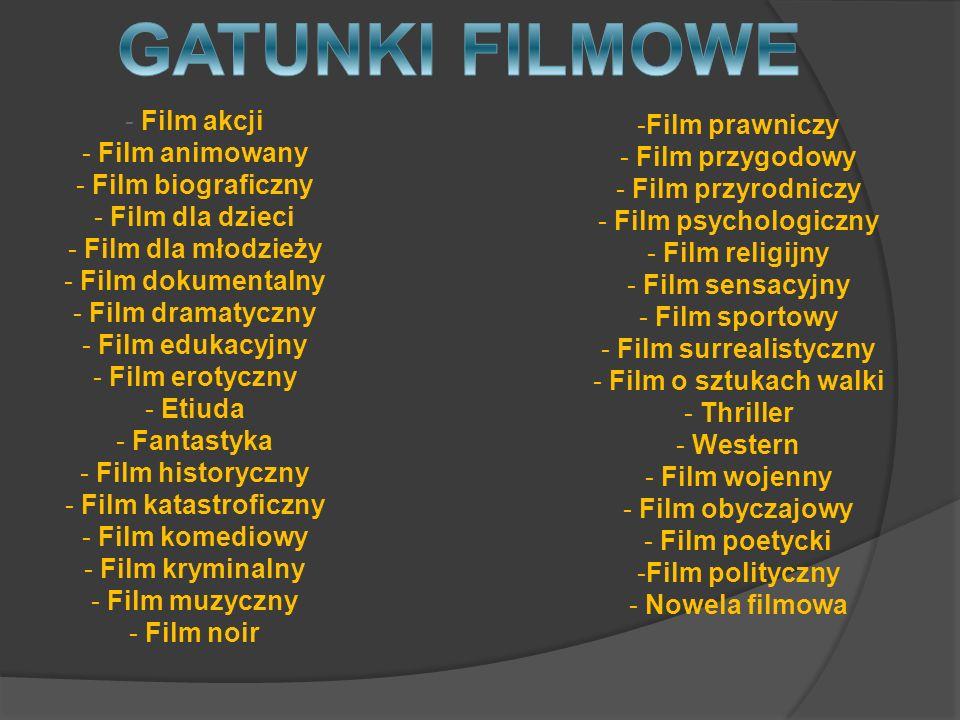 GATUNKI FILMOWE Film akcji Film prawniczy Film animowany
