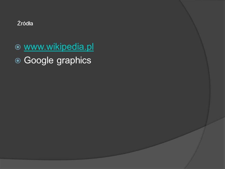 Źródła www.wikipedia.pl Google graphics