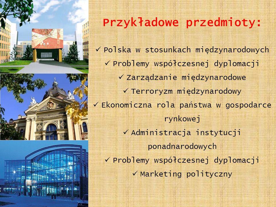 Przykładowe przedmioty: