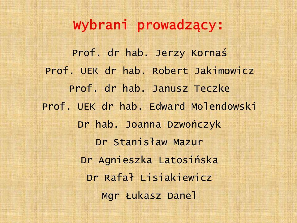 Wybrani prowadzący: Prof. dr hab. Jerzy Kornaś