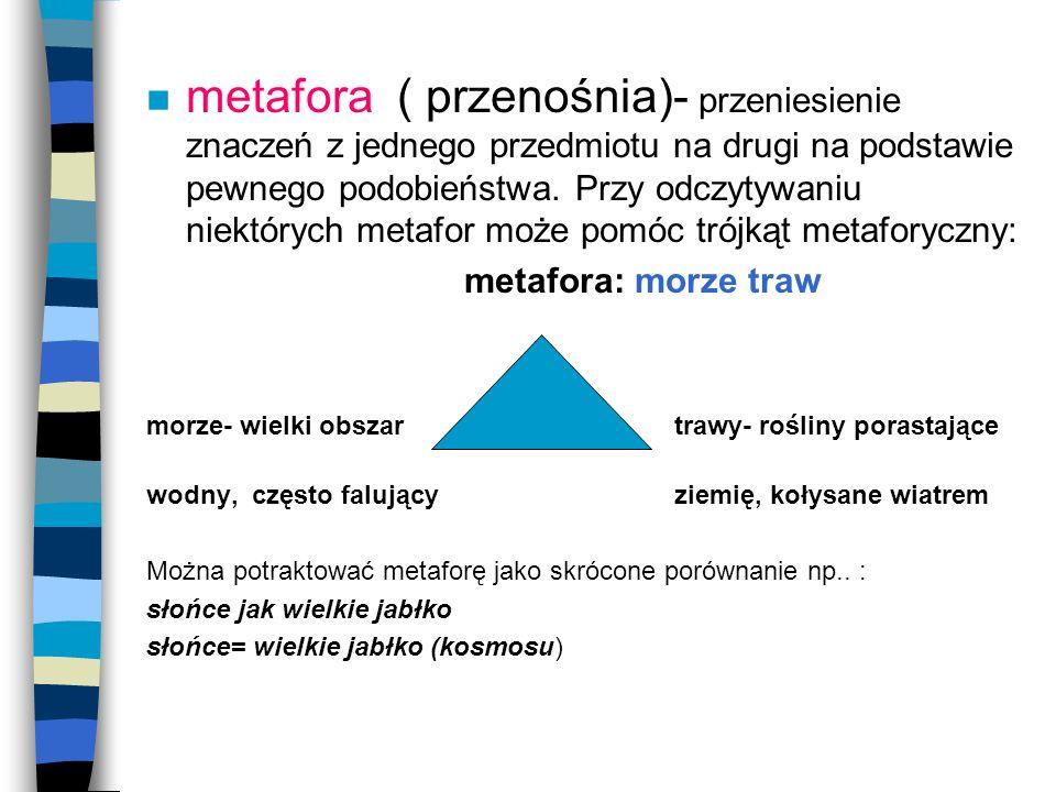 metafora ( przenośnia)- przeniesienie znaczeń z jednego przedmiotu na drugi na podstawie pewnego podobieństwa. Przy odczytywaniu niektórych metafor może pomóc trójkąt metaforyczny: