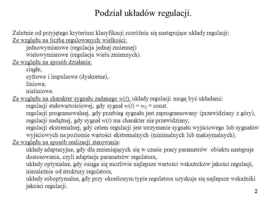 Podział układów regulacji.