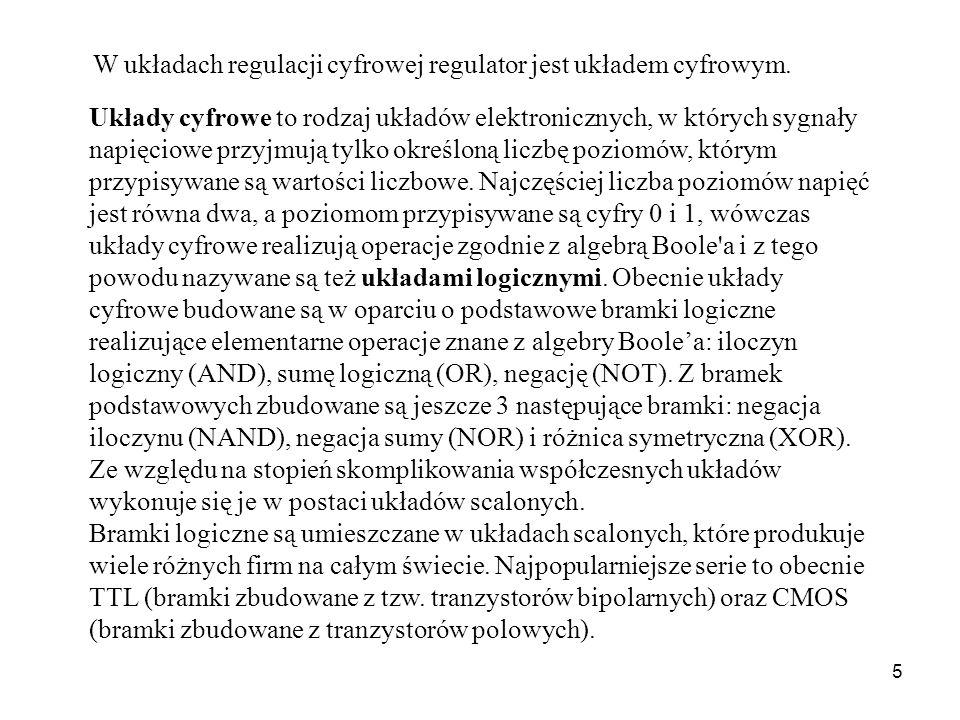 W układach regulacji cyfrowej regulator jest układem cyfrowym.