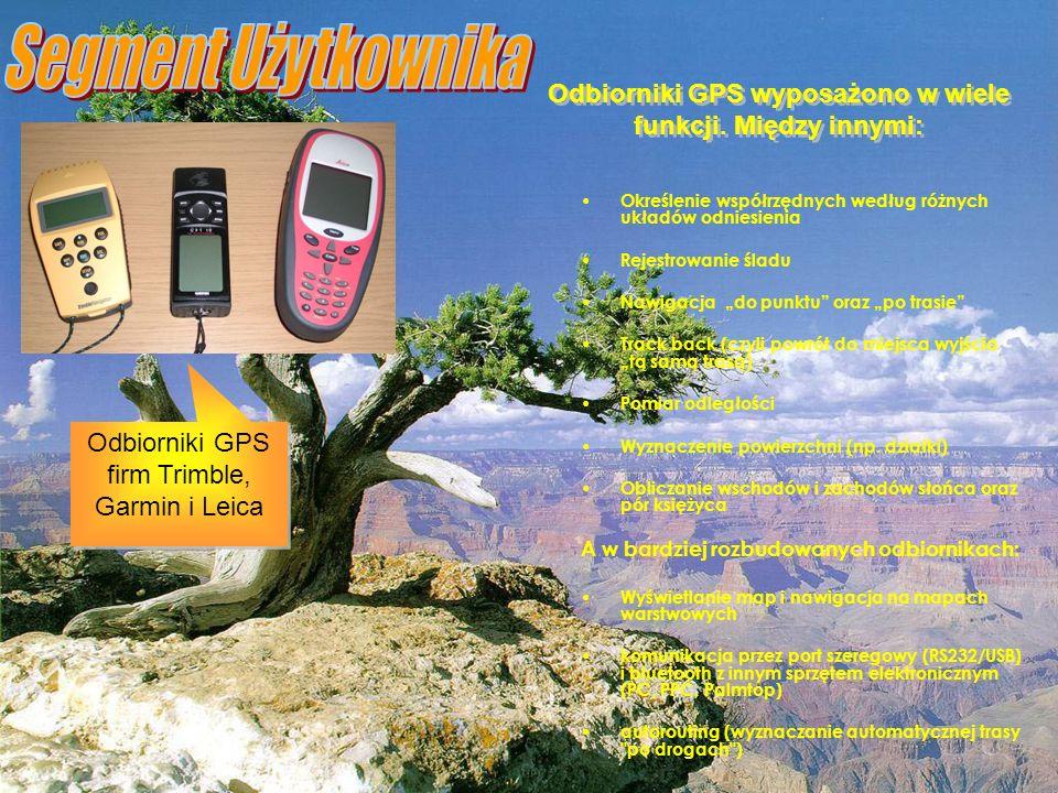 Odbiorniki GPS wyposażono w wiele funkcji. Między innymi: