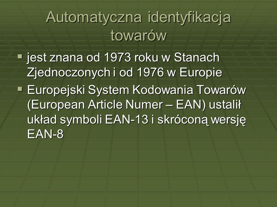 Automatyczna identyfikacja towarów