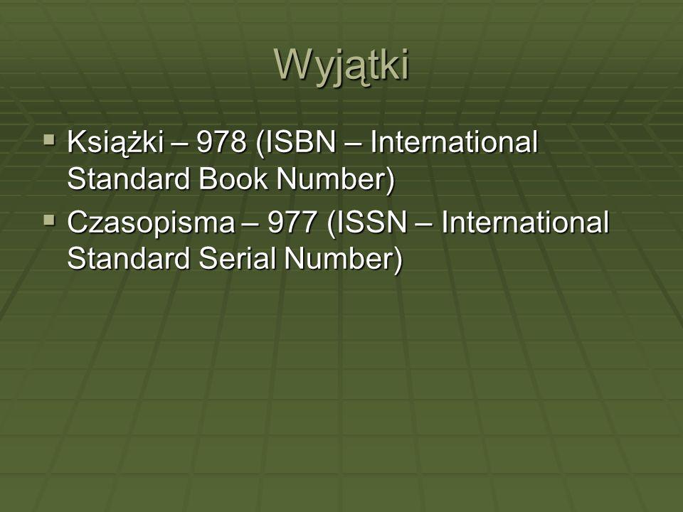 Wyjątki Książki – 978 (ISBN – International Standard Book Number)
