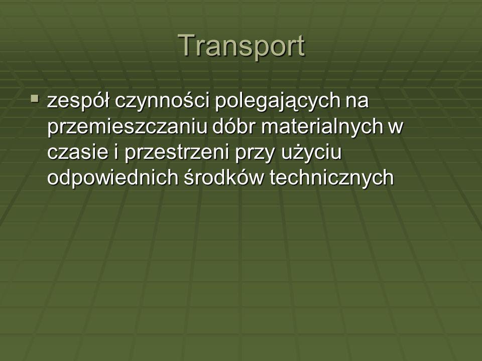 Transport zespół czynności polegających na przemieszczaniu dóbr materialnych w czasie i przestrzeni przy użyciu odpowiednich środków technicznych.