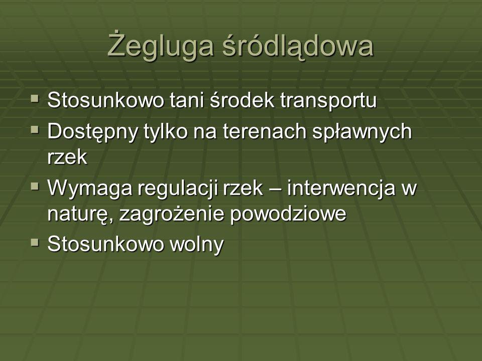 Żegluga śródlądowa Stosunkowo tani środek transportu