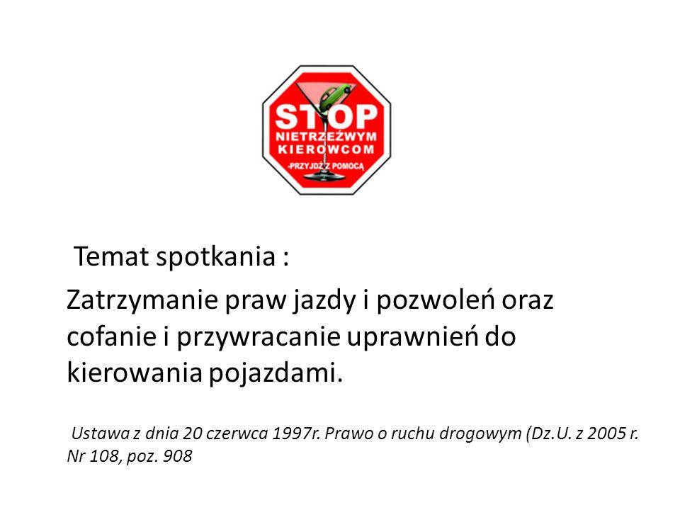Temat spotkania :Zatrzymanie praw jazdy i pozwoleń oraz cofanie i przywracanie uprawnień do kierowania pojazdami.