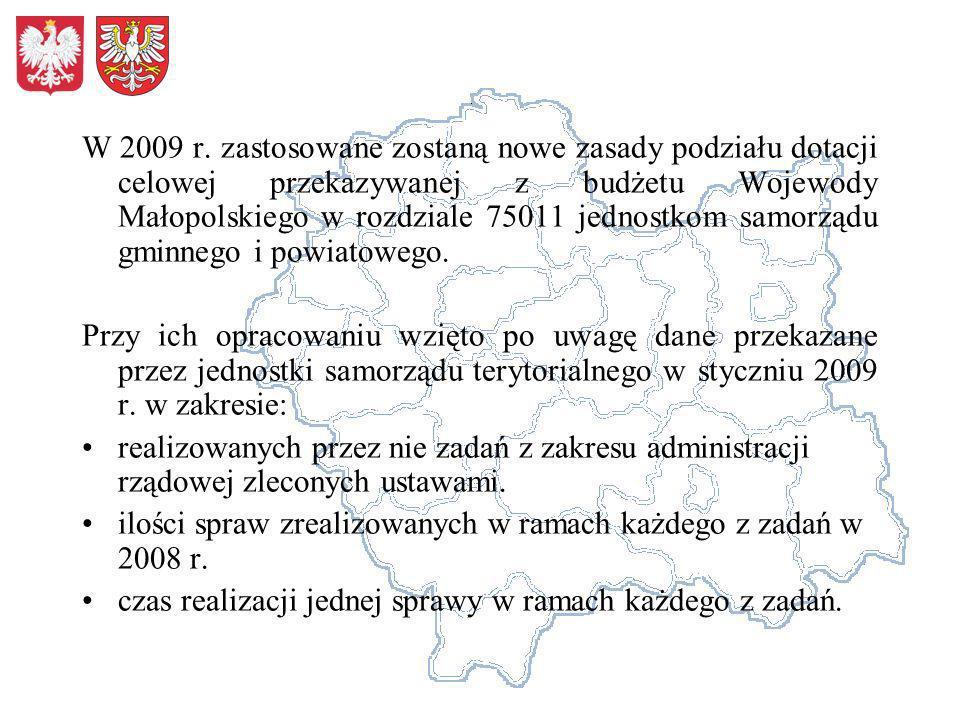 W 2009 r. zastosowane zostaną nowe zasady podziału dotacji celowej przekazywanej z budżetu Wojewody Małopolskiego w rozdziale 75011 jednostkom samorządu gminnego i powiatowego.