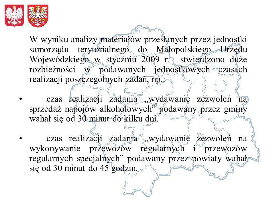 W wyniku analizy materiałów przesłanych przez jednostki samorządu terytorialnego do Małopolskiego Urzędu Wojewódzkiego w styczniu 2009 r. stwierdzono duże rozbieżności w podawanych jednostkowych czasach realizacji poszczególnych zadań, np.: