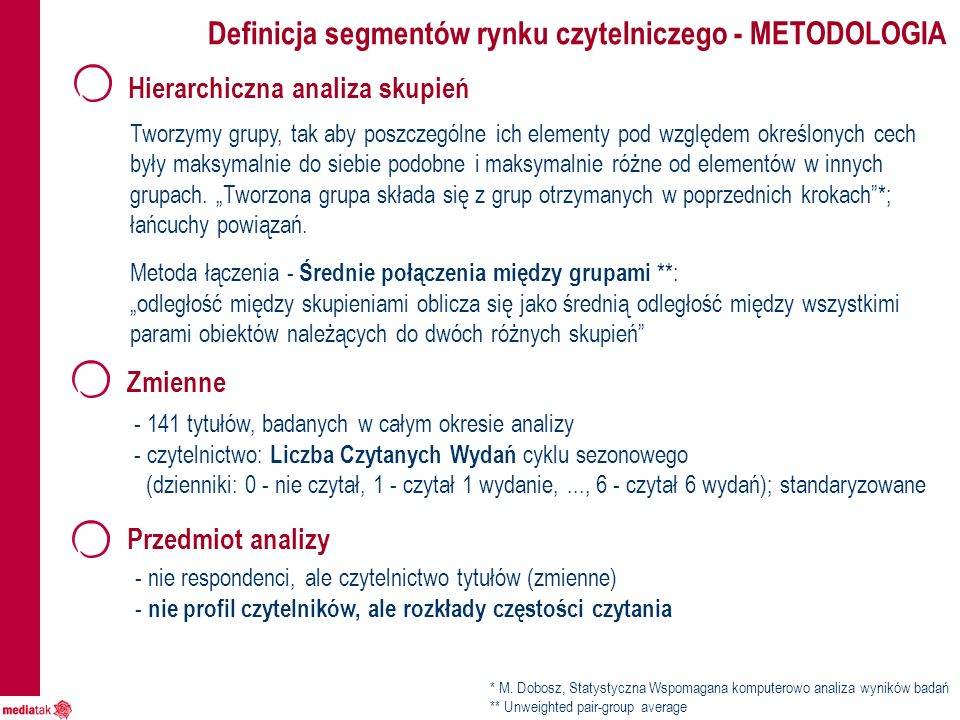 Definicja segmentów rynku czytelniczego - METODOLOGIA