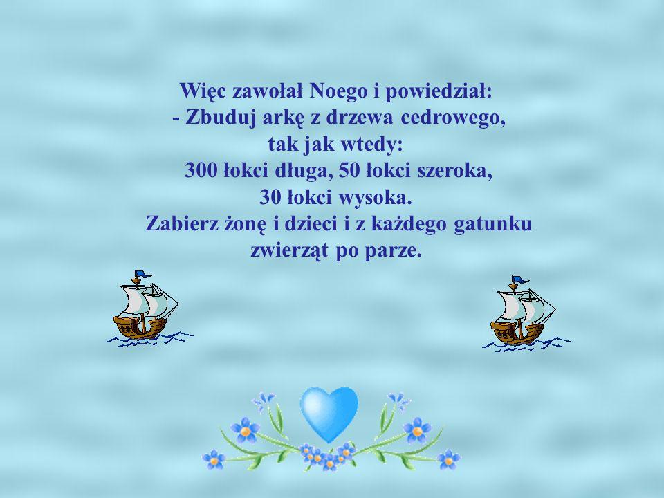 Więc zawołał Noego i powiedział: - Zbuduj arkę z drzewa cedrowego, tak jak wtedy: 300 łokci długa, 50 łokci szeroka, 30 łokci wysoka.