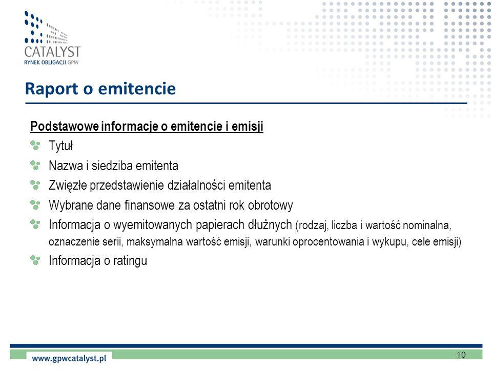 Raport o emitencie Podstawowe informacje o emitencie i emisji Tytuł