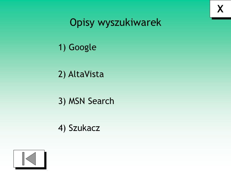 X Opisy wyszukiwarek 1) Google 2) AltaVista 3) MSN Search 4) Szukacz