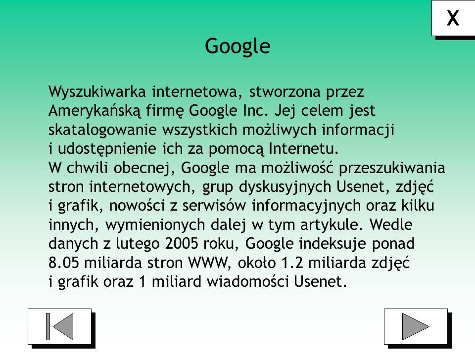 X Google Wyszukiwarka internetowa, stworzona przez