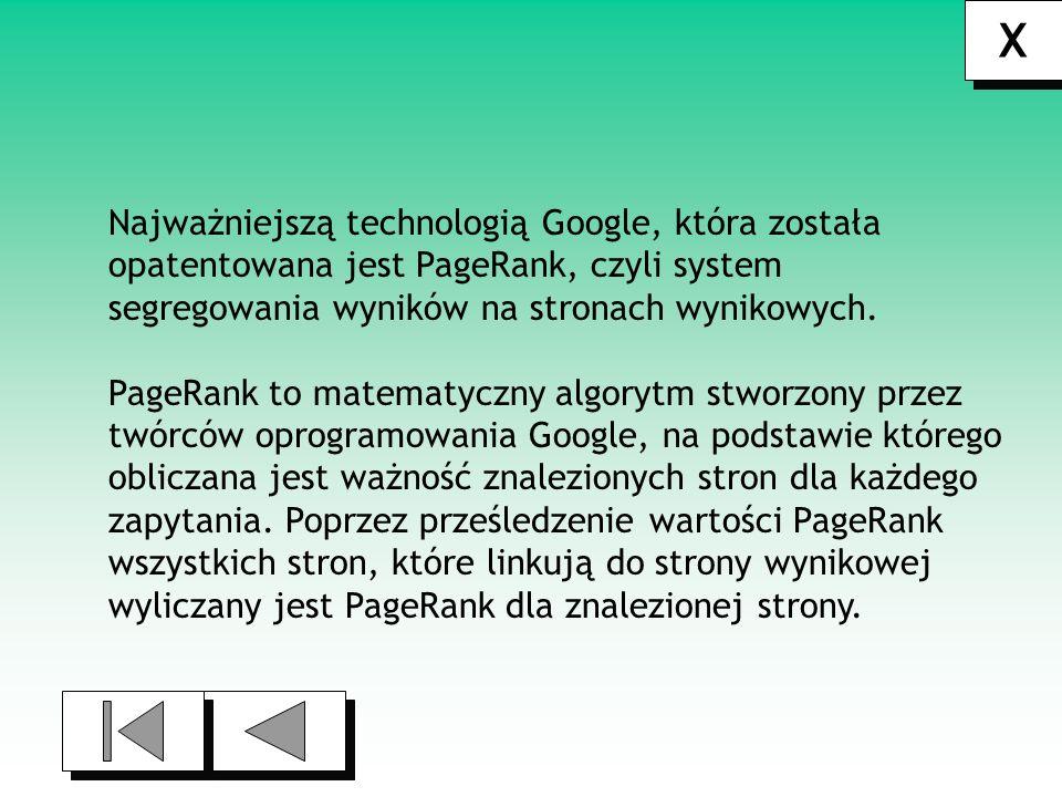 X Najważniejszą technologią Google, która została