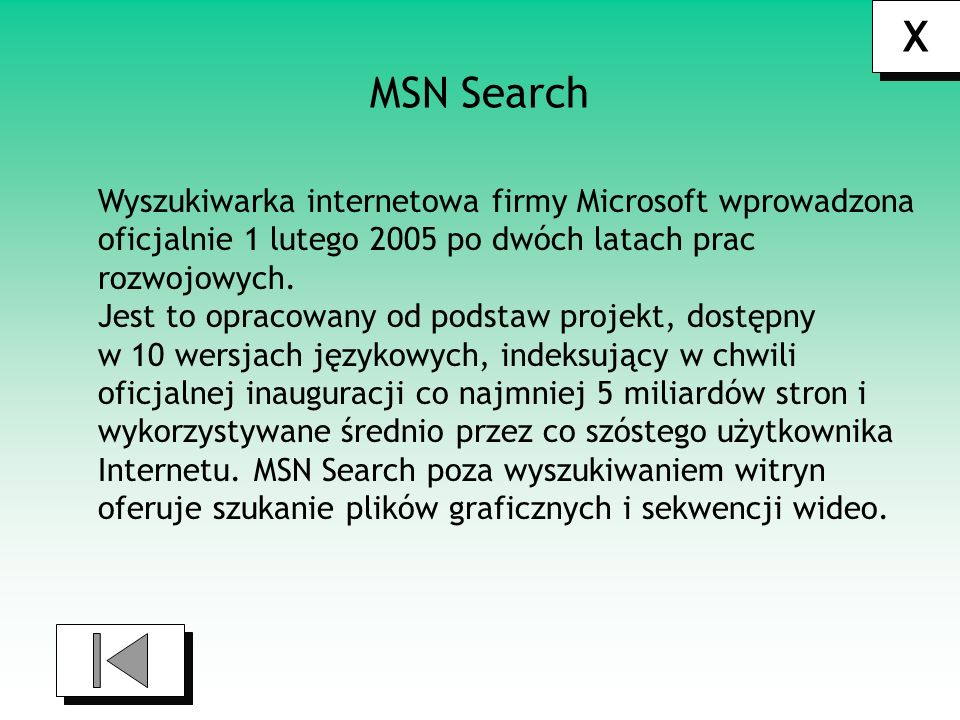 X MSN Search Wyszukiwarka internetowa firmy Microsoft wprowadzona