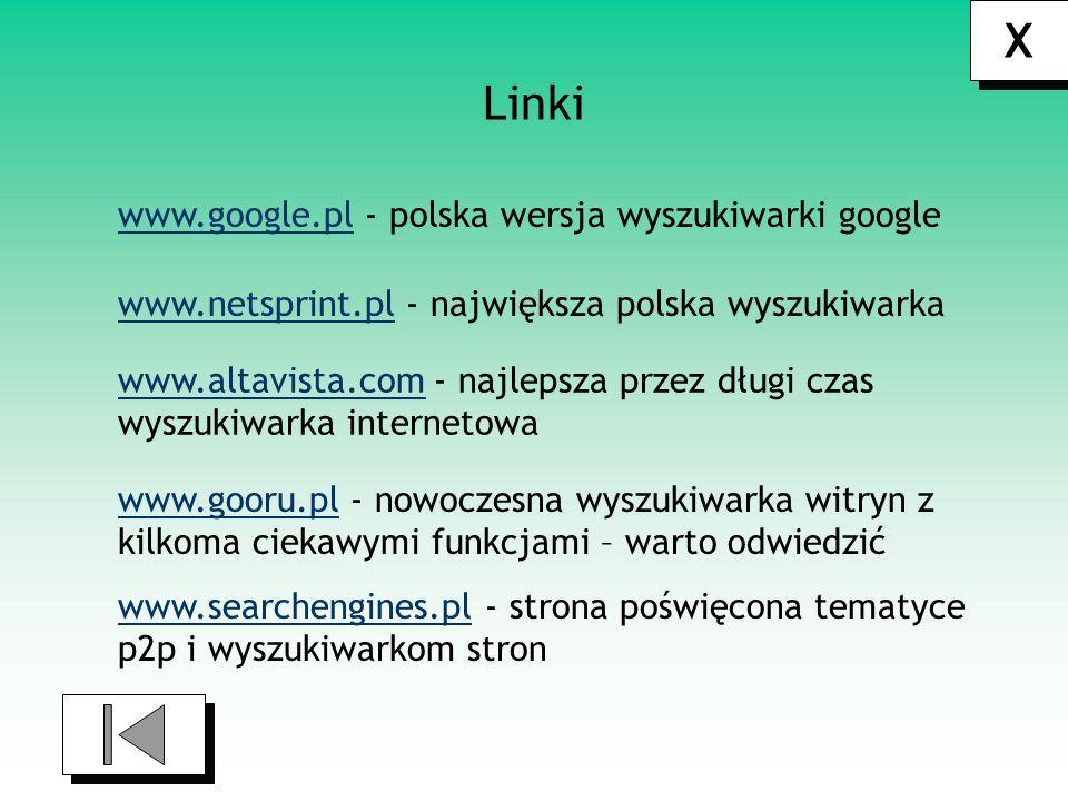 X Linki www.google.pl - polska wersja wyszukiwarki google