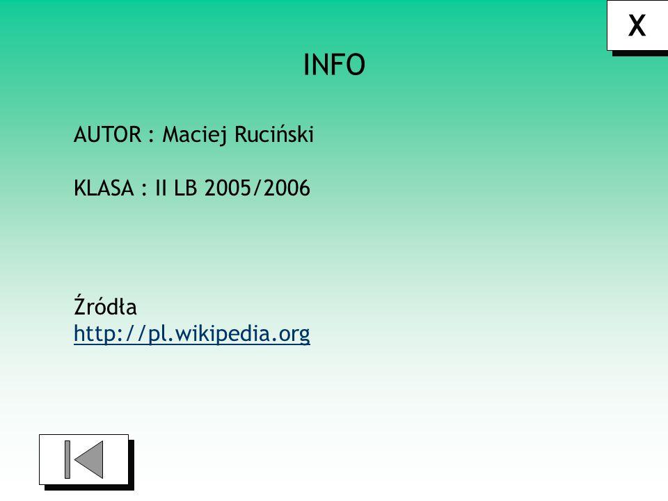 X INFO AUTOR : Maciej Ruciński KLASA : II LB 2005/2006 Źródła