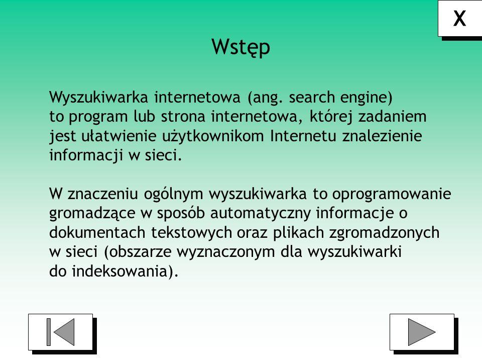 X Wstęp Wyszukiwarka internetowa (ang. search engine)