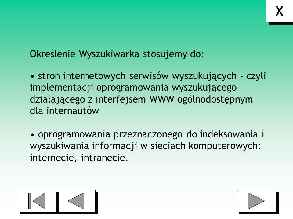 X Określenie Wyszukiwarka stosujemy do: