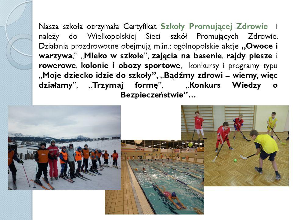 Nasza szkoła otrzymała Certyfikat Szkoły Promującej Zdrowie i należy do Wielkopolskiej Sieci szkół Promujących Zdrowie.