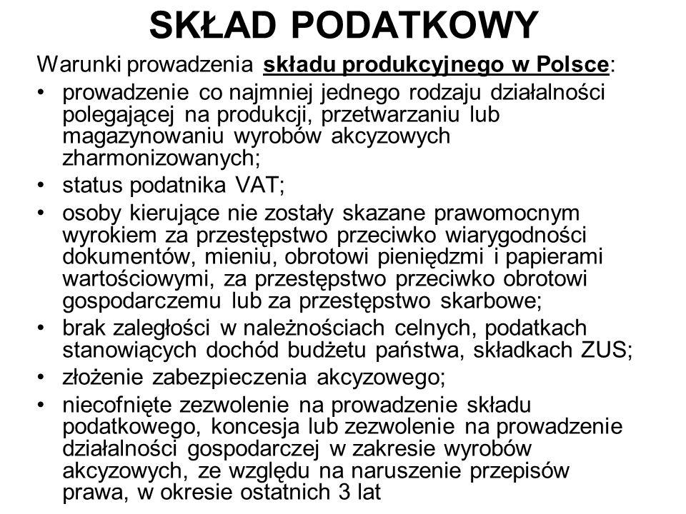 SKŁAD PODATKOWY Warunki prowadzenia składu produkcyjnego w Polsce: