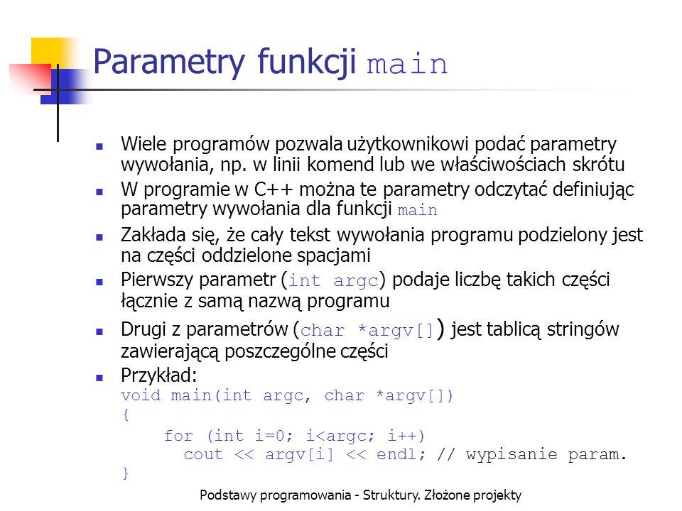 Parametry funkcji main